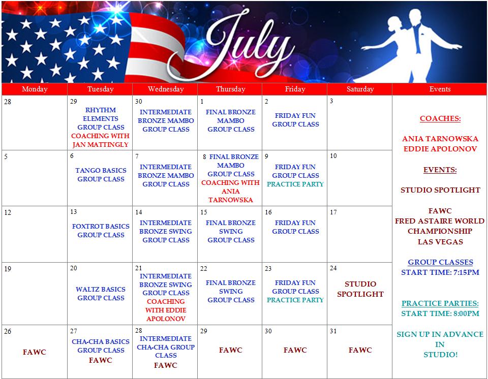 FADS Dance Calendar - July - Champions