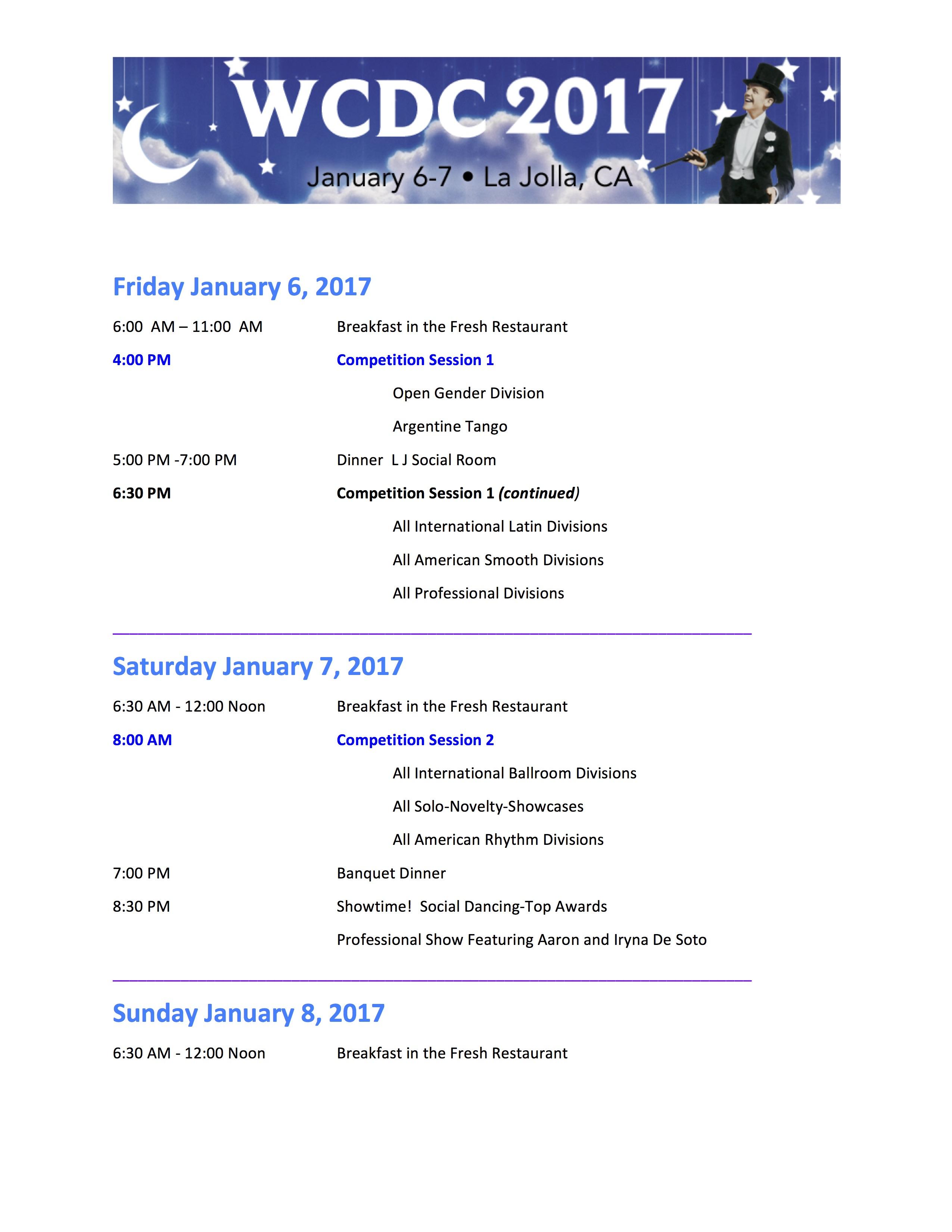WCDC 2017 Schedule