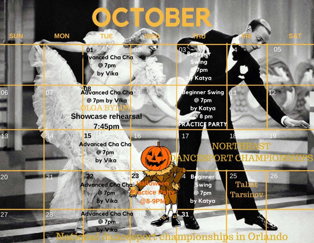 Fred Astaire Dance Studio Downtown New York Calendar October