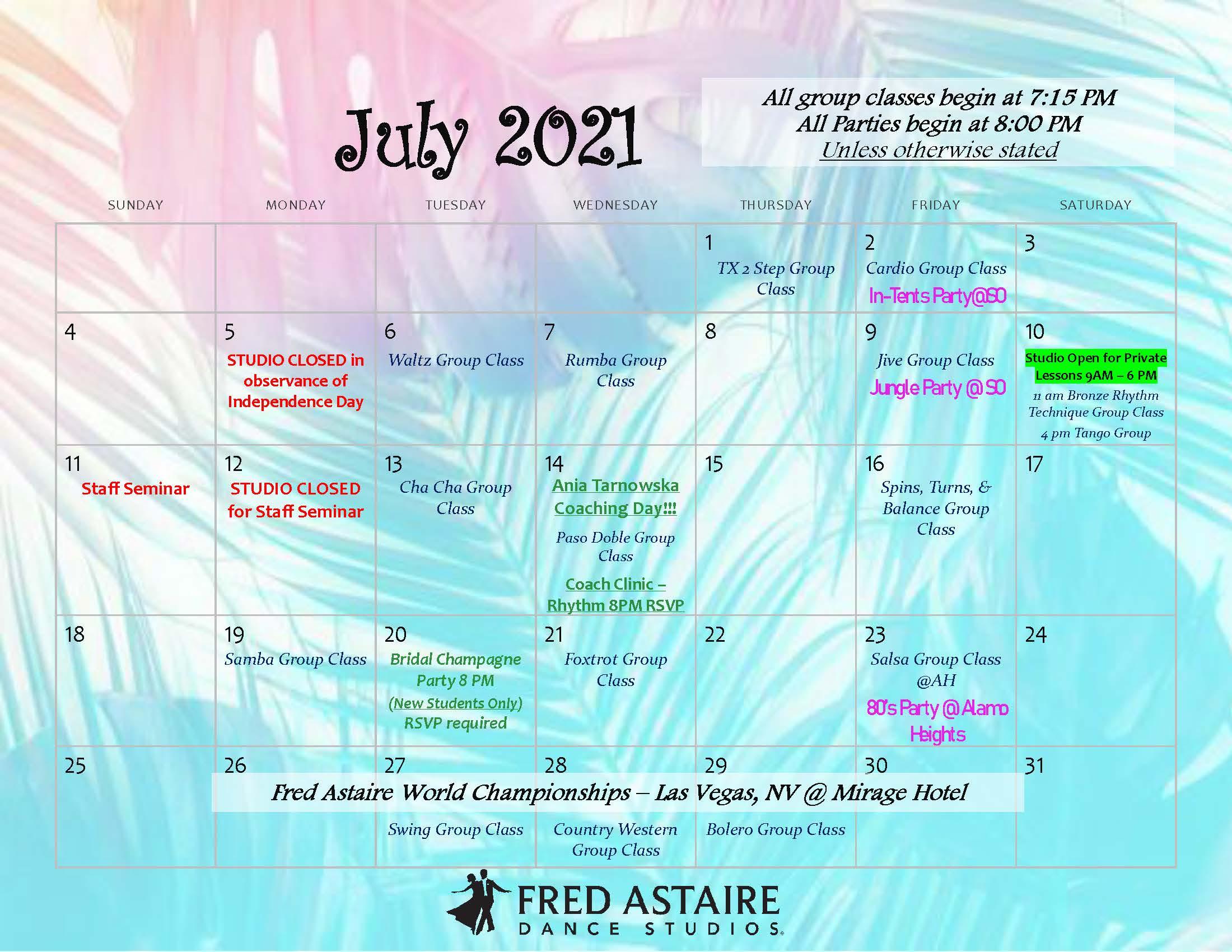 FADS Dance Calendar - Stone Oak - July